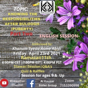 Ladies Event - Knowing Responsibilities After Puberty